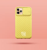 yellow iphone case with camera slider, with white Modzie logo bottom centre, with a pink background and black drop shadow under case