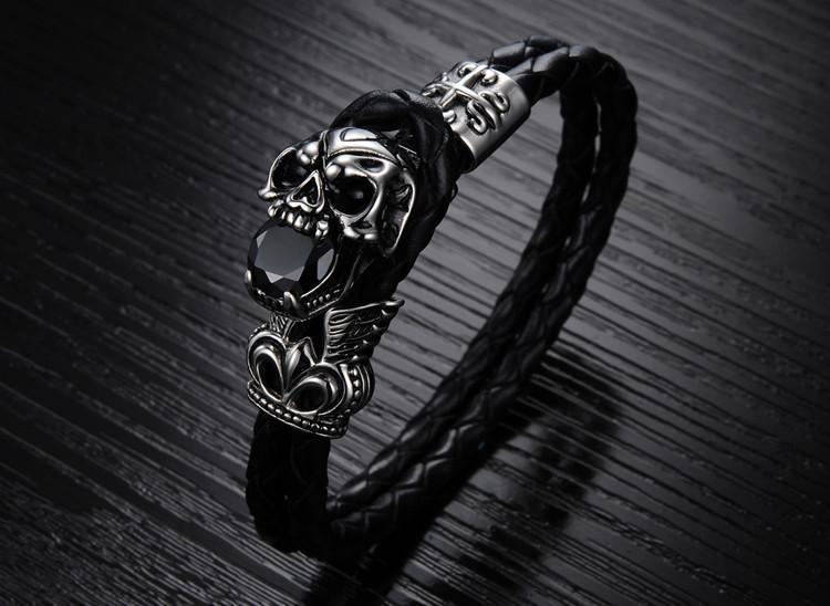 Genuine Leather Stainless Steel Skull Bracelet