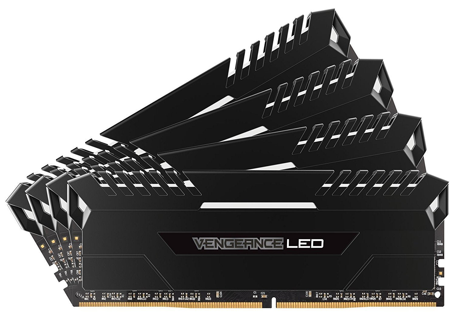 Corsair Vengeance LED 32GB (4x8GB) DDR4 3200 (PC4-25600) C16 for DDR4 Systems - White LED PC Memory (CMU32GX4M4C3200C16)