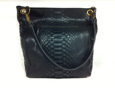 Bolso Shoping mix pitón negro