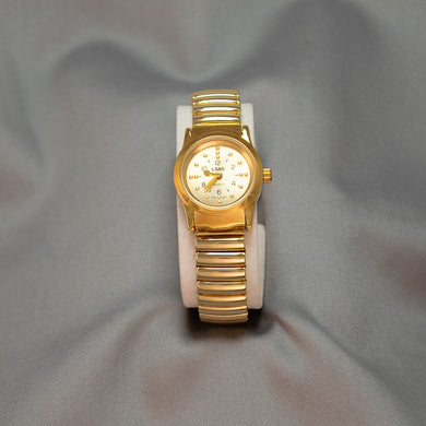 Ladies Gold Tone Braille Watch w/Expandable Wrist Band