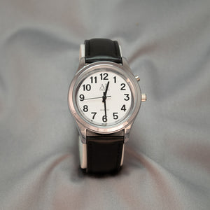 Gentlemen's Chrome 1-Button Talking & Low Vision Watch w/Leather Wrist Band