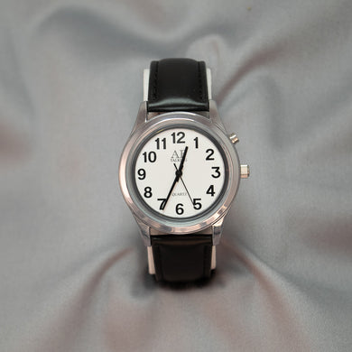 Ladies Chrome 1-Button Talking & Low Vision Watch w/Leather Band