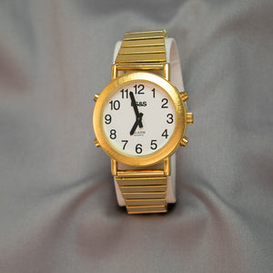 Gentlemen's Gold Tone 4-Buttons Talking Watch w/Expandable Wrist Band