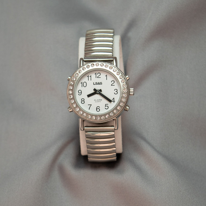 Rhinestone Silver Ladies Talking Watch w/Expandable Band