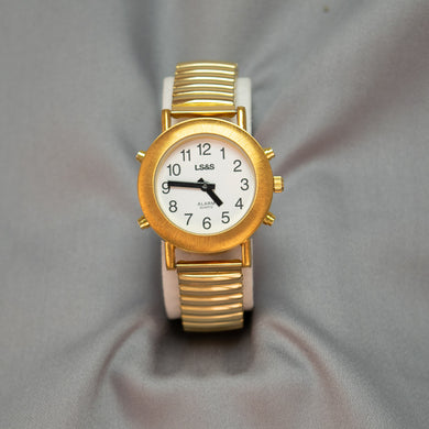 Ladies Gold Tone 4-Buttons Talking Watch w/Expandable Band