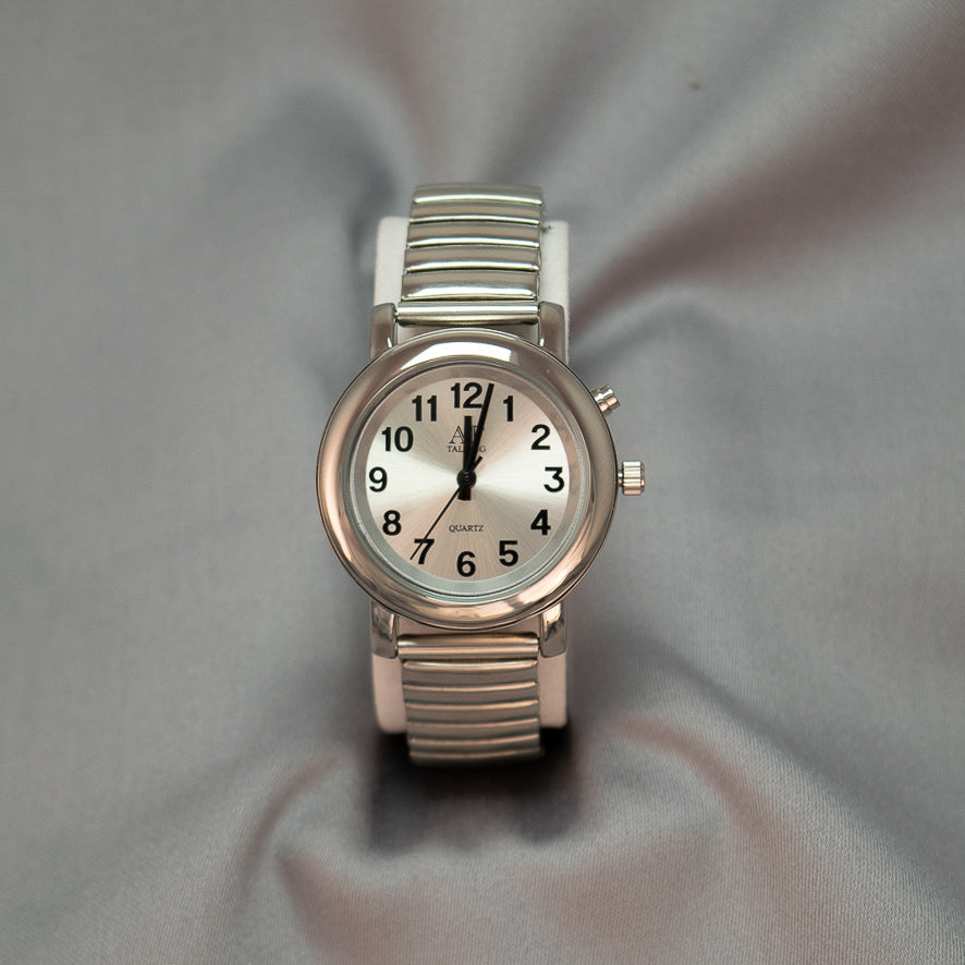 Ladies 1-Button Silver Face Talking Watch w/Expandable Wrist Band