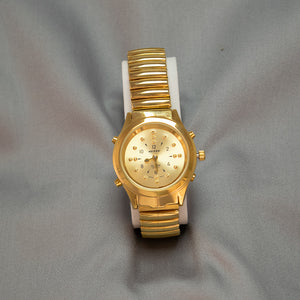 Ladies Gold Tone Braille Talking Watch w/Expandable Wrist Band