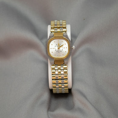 Ladies 2-Tone Braille Watch w/Expandable Wrist Band