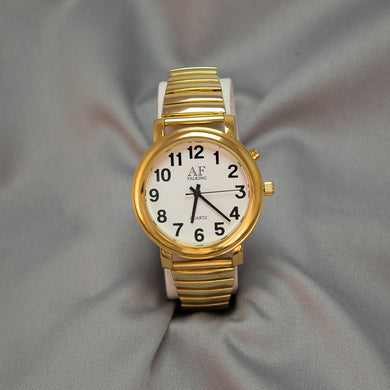 Gentlemen's Gold Tone 1-Button Talking Watch w/Expandable Wrist Band