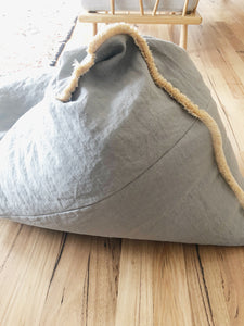 Grey Linen Bean Bag + Fringe