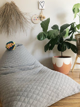 Load image into Gallery viewer, Light Grey Quilted Bean Bag + Pom Pom