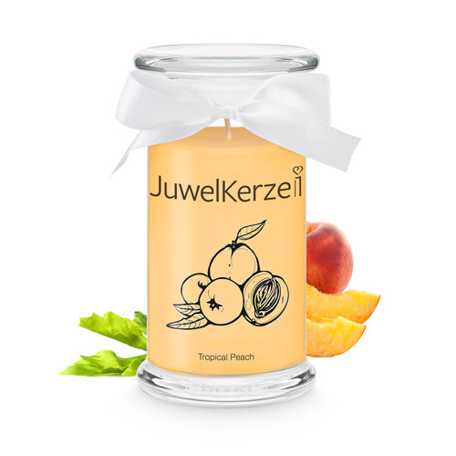 Tropical Peach Duftkerze mit Schmuck - Tropical Peach Classic Edition - JuwelKerze.de 49.95 CHF
