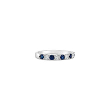 Load image into Gallery viewer, Five Round Blue Sapphire and Diamond White Gold Band