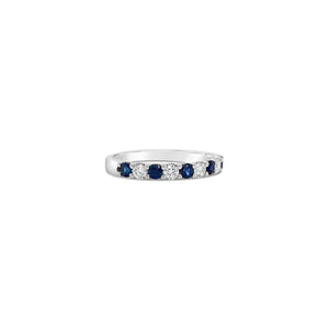 Five Round Blue Sapphire and Diamond White Gold Band