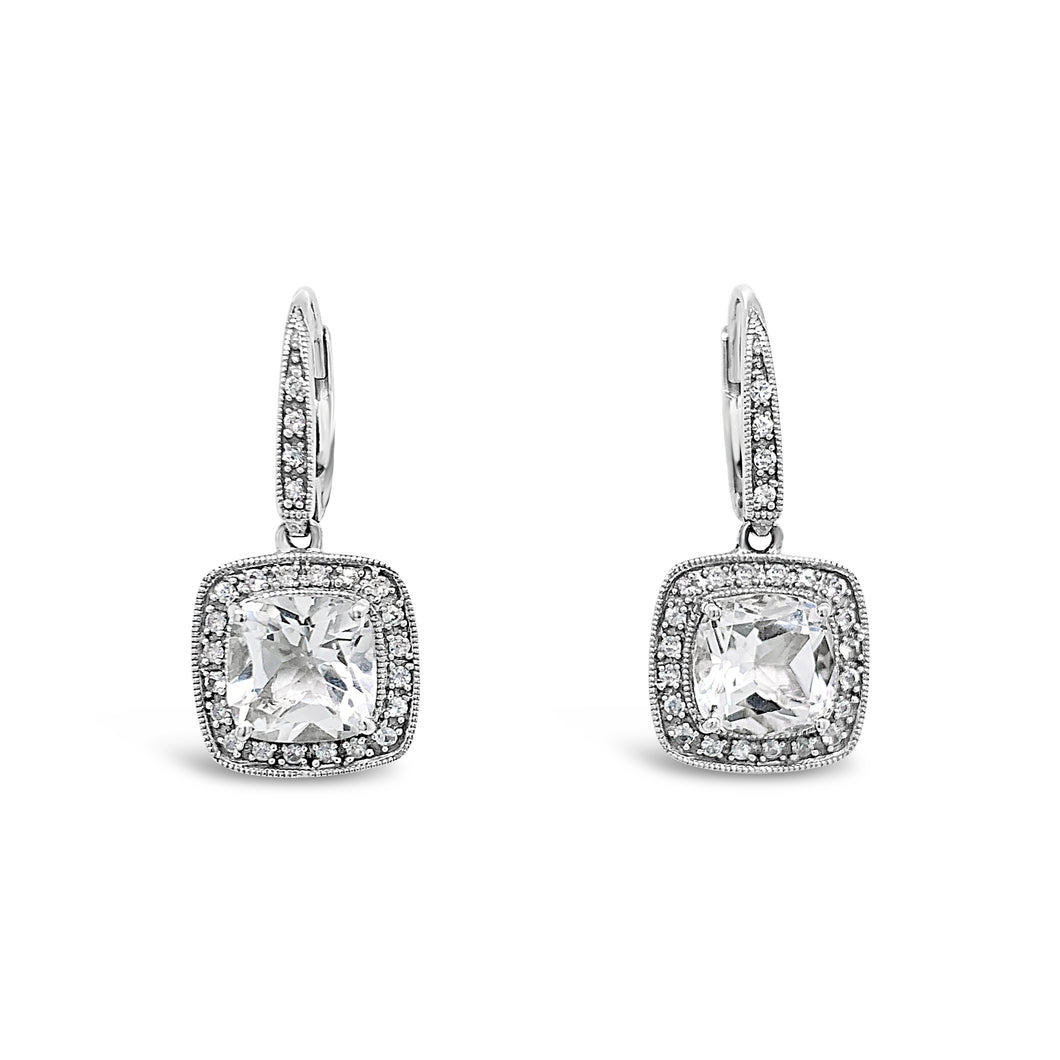 14kw Topaz White Sapphire Halo Earrings