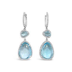 14kw Blue Topaz Earrings