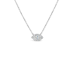 14kw Gold Diamond Halo Necklace