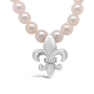 14k White Gold Satin Finish with Diamonds Fleur de Lis Enhancer