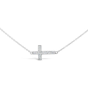 14kw Gold Sideways Cross Diamond Necklace