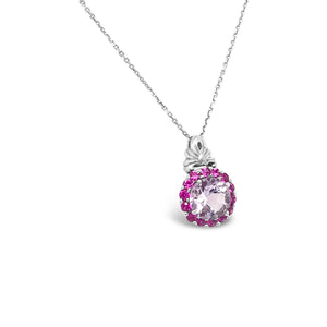 14kw Light Amethyst with Pink Sapphire Chain Necklace