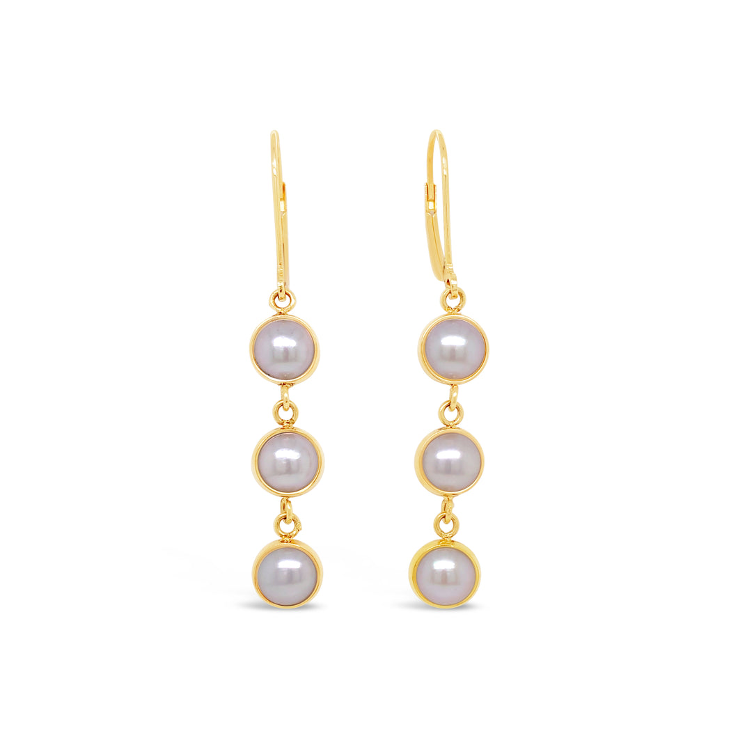 14ky Cultured 7mm Pearl Dangle Earrings