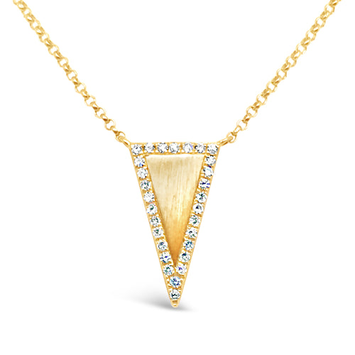 14ky Gold Satin Triangle Accent with Diamonds Necklace