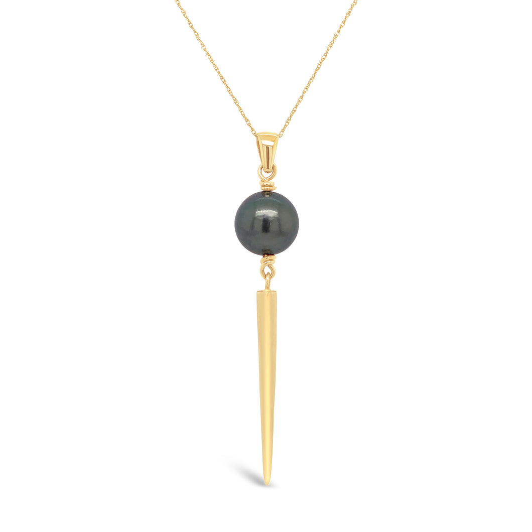 14ky Gold Tahitian Pearl with Satin Spike Necklace
