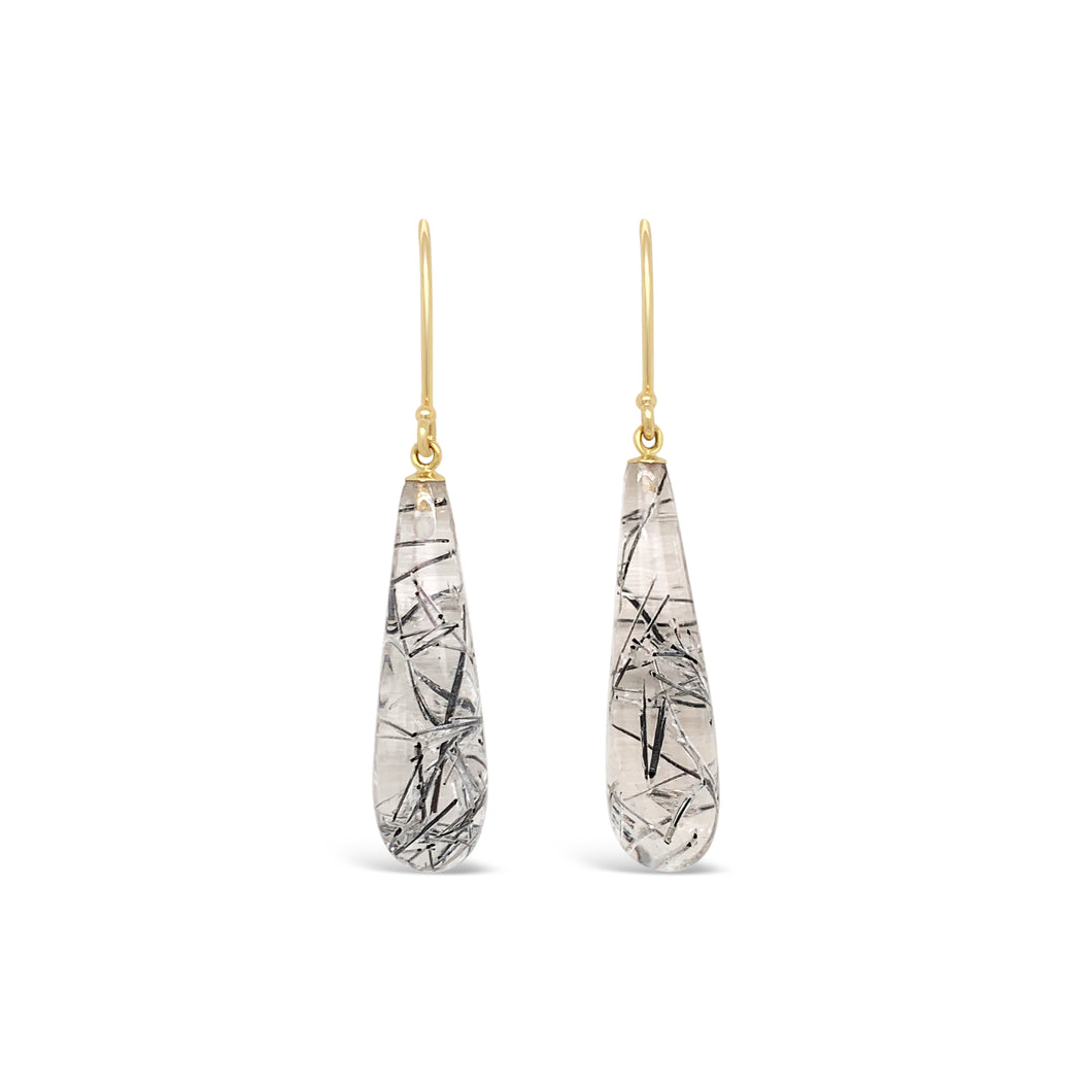 14ky Gold Black Tourmalinated Quartz Earrings