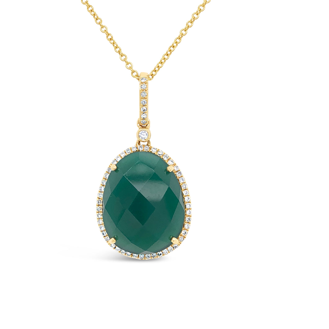14ky Gold Green Onyx Necklace
