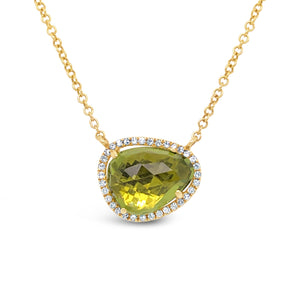 14ky Gold Peridot Halo Adjustable Necklace