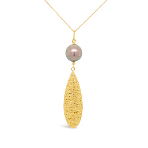 14ky Gold Satin Teardrop Necklace