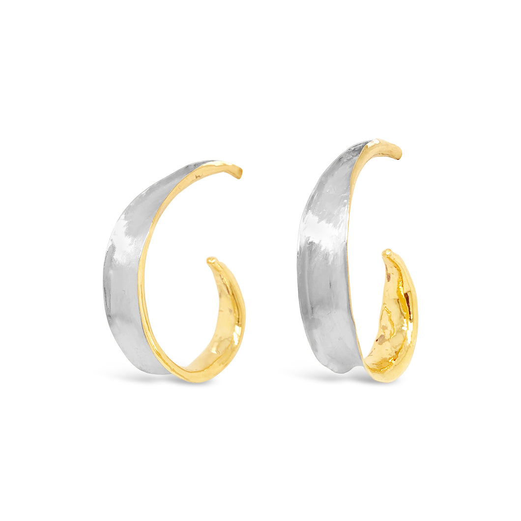 14ky Gold Tapered Anticlastic Swirl Earrings
