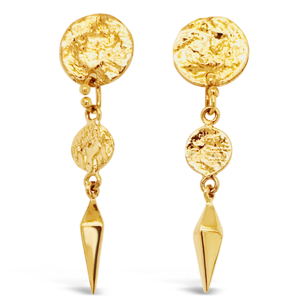 14ky Gold Textured Disc Earrings with 3D Spike