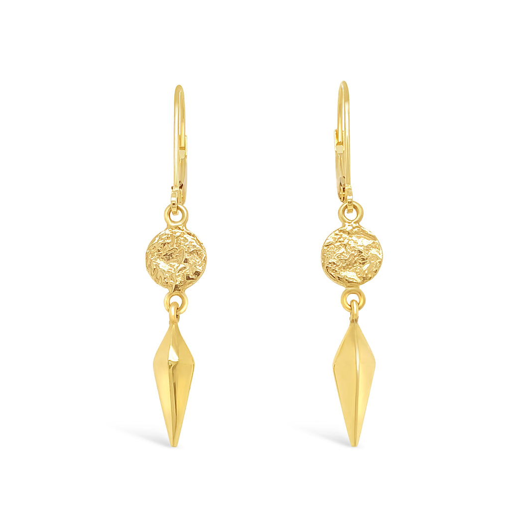 14ky Gold XSm Textured Disc with 3D Spike Earrings