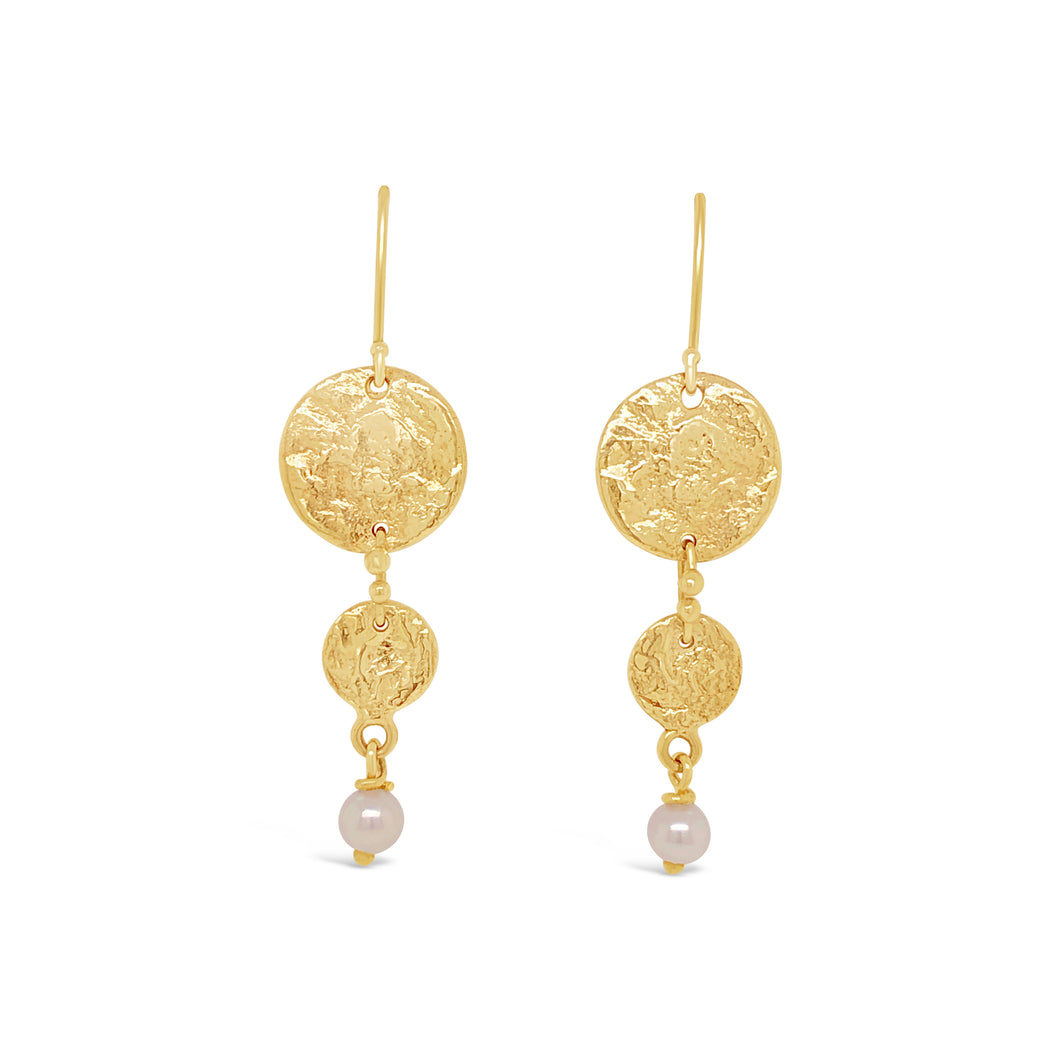 14ky Textured Disc Earrings with Cultured Pearl