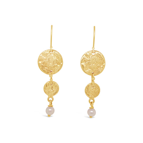 14ky Textured Disc with Cultured Pearl Earrings