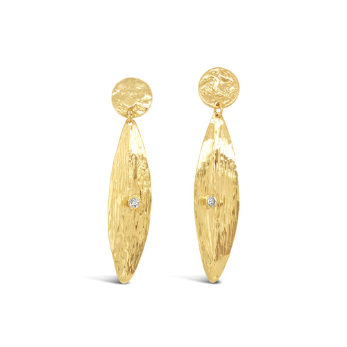 14ky Textured Disc Earrings with Diamond