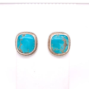 Sterling and Gold Fill Kingman Turquoise Earrings