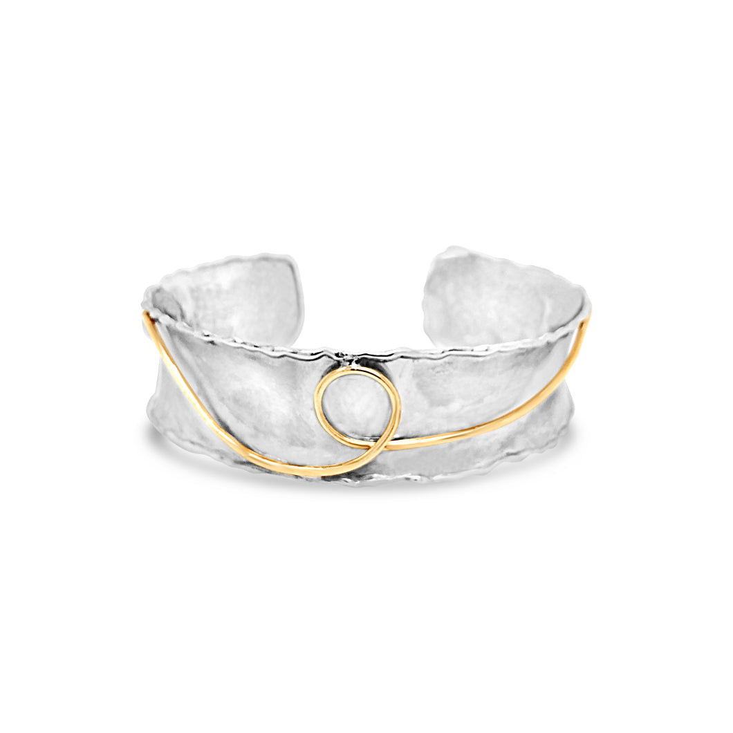 DP Original white and w/yellow gold cuff bracelet