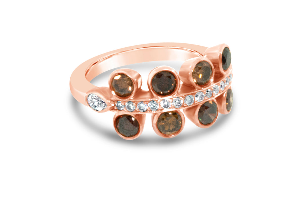 18k Rose Gold Champagne and Chocolate Diamond Ring