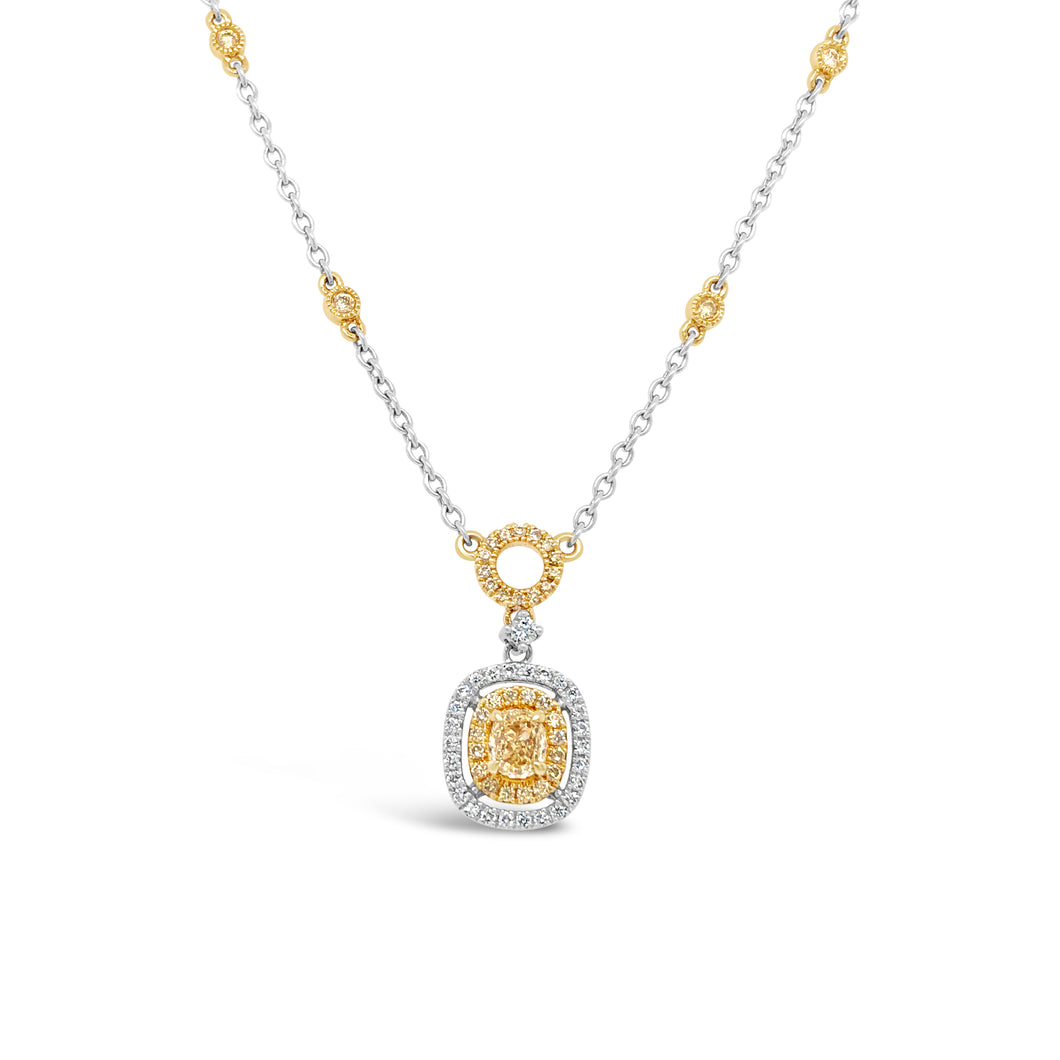 18k Two Tone Natural Yellow Diamond Necklace