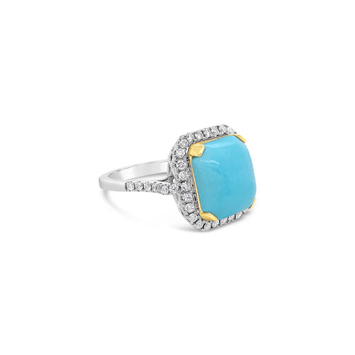18k Two Tone Turquoise Ring
