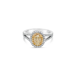 18k Two Tone Gold Natural Yellow Diamond Ring