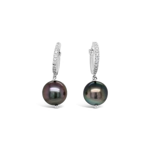 18kw Gold Tahitian Pearl Diamond Earrings
