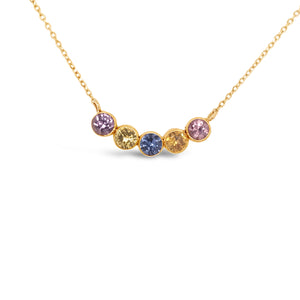 18ky Gold Sapphire Multi Colored  Necklace