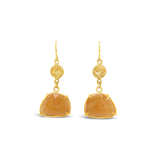 18ky Gold Yellow Sapphire Slice Dangle Earrings