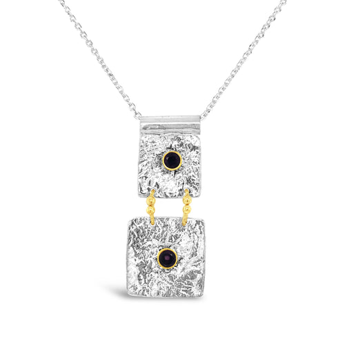 Sterling Silver and 14k Gold Accent Amethyst Necklace