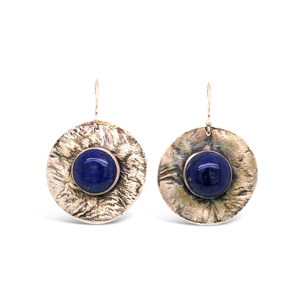 Lapis on Textured Stirling Sliver Disc Earrings