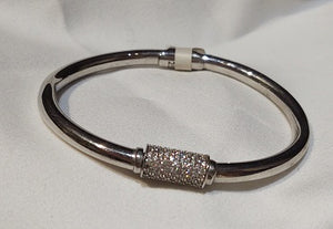 Sterling Silver and Pavé Cubic Zirconia Hinge